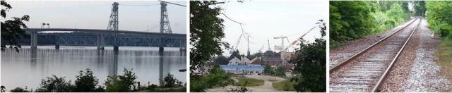 Bath, Maine - River, Shipyard, Rail Line