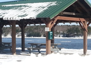 Picnic Pavilion in Snow at Waterfront Park