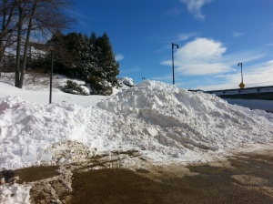 Snow pile from the plow in Bath Maine